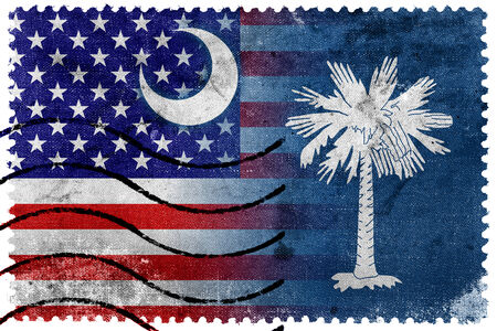 USA and South Carolina State Flag - old postage stamp photo