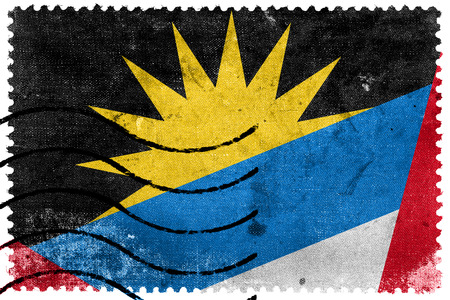 Antigua and Barbuda Flag - old postage stamp photo