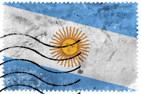 argentina flag: Argentina Flag - old postage stamp Stock Photo