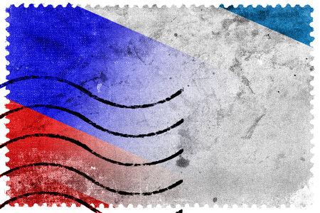crimea: Autonomous Republic of Crimea and Russia Flag - old postage stamp