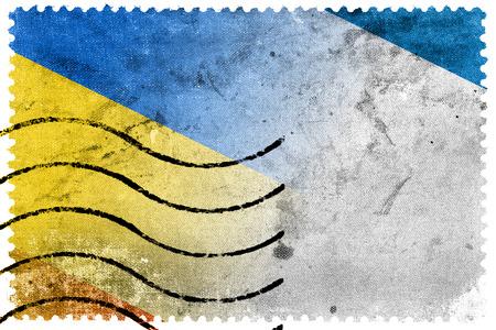 crimea: Autonomous Republic of Crimea and Ukraine Flag - old postage stamp Stock Photo