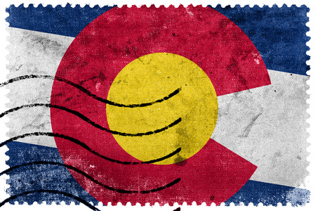 state of colorado: Colorado State Flag - old postage stamp Stock Photo