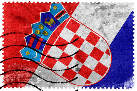 bandera croacia: Bandera de Croacia - antiguo sello postal Editorial