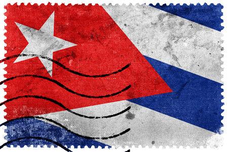 cuba flag: Cuba Flag - old postage stamp Editorial
