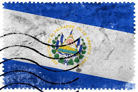 el salvador flag: El Salvador Flag - old postage stamp Stock Photo