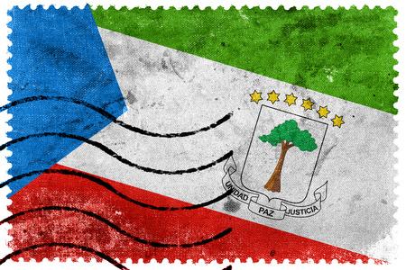 equatorial: Equatorial Guinea Flag - old postage stamp Stock Photo