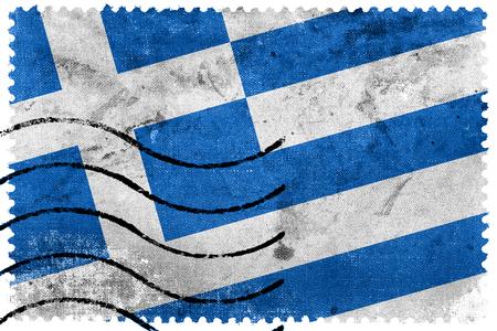 Greece Flag - old postage stamp photo
