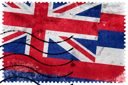 Hawaii State Flag - old postage stamp photo