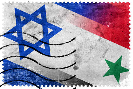 Israel and Syria Flag - old postage stamp photo