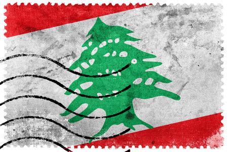sello postal: Bandera de L�bano - antiguo sello postal