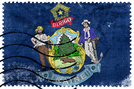 maine: Maine State Flag - old postage stamp Stock Photo