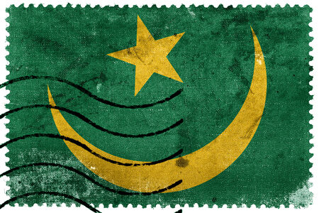 mauritania: Mauritania Flag - old postage stamp