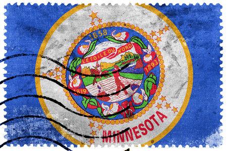 Minnesota State Flag - old postage stamp photo