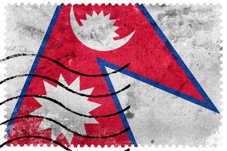 sello postal: Bandera de Nepal - antiguo sello postal