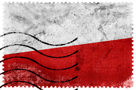 poland flag: Poland Flag - old postage stamp