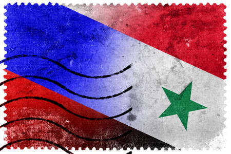 Russia and Syria Flag - old postage stamp photo