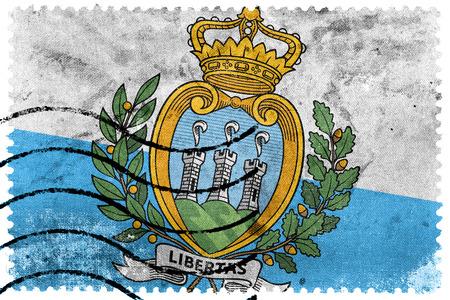 sammarinese: San Marino Flag - francobollo vecchio francobollo