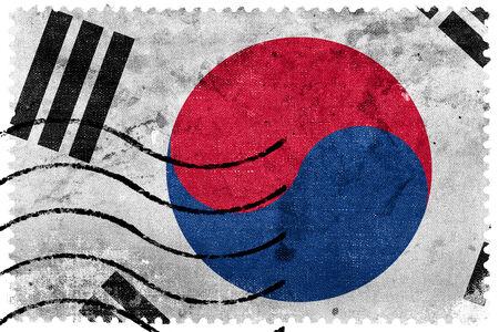 korea flag: South Korea Flag - old postage stamp