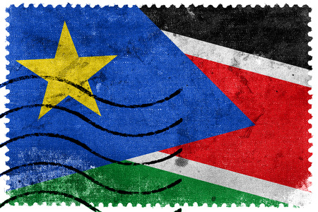 south sudan: South Sudan Flag - old postage stamp