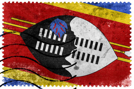 swaziland: Swaziland Flag - old postage stamp Stock Photo