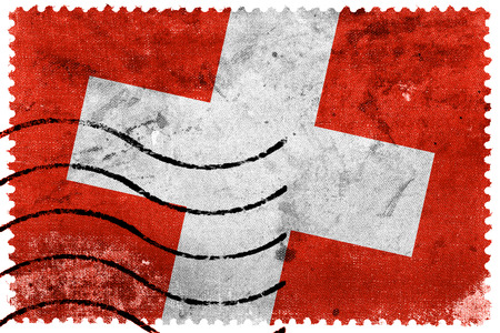 switzerland flag: Switzerland Flag - old postage stamp Stock Photo
