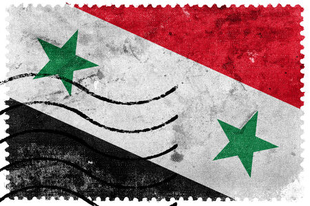 Syria Flag - old postage stamp photo