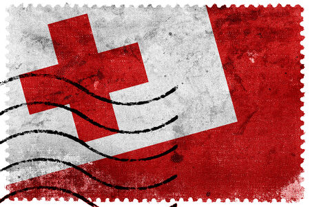 tonga: Tonga Flag - old postage stamp