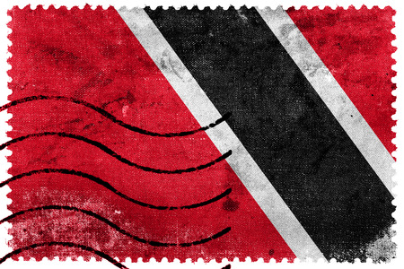 trinidad and tobago: Trinidad and Tobago Flag - old postage stamp Stock Photo
