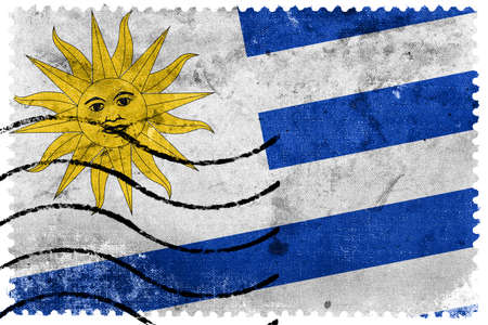 uruguay flag: Uruguay Flag - old postage stamp Stock Photo