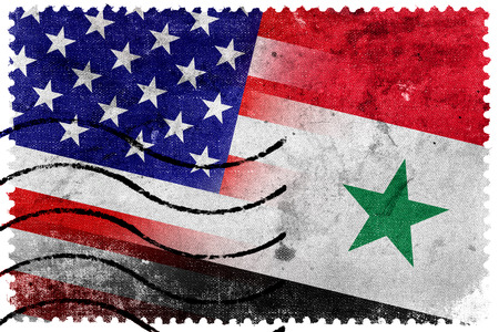 USA and Syria Flag - old postage stamp photo