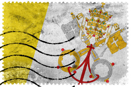 vatican city: Vatican City Flag - old postage stamp Stock Photo