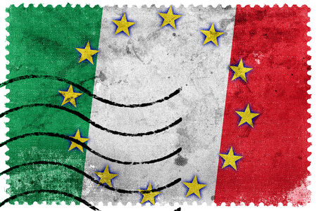 Italy and European Union Flag - old postage stamp photo