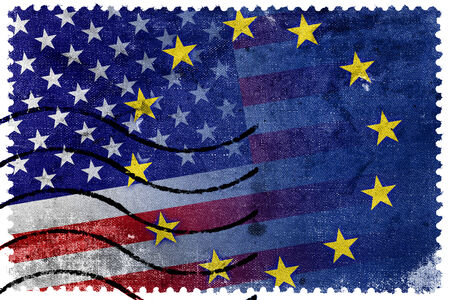 nato: United States and European Union Flag - old postage stamp