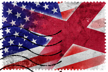 alabama state: USA and Alabama State Flag - old postage stamp Stock Photo
