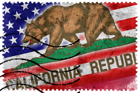 california state: USA and California State Flag - old postage stamp