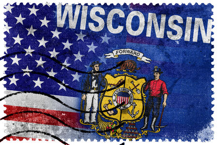 wisconsin state: USA and Wisconsin State Flag - old postage stamp