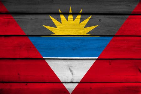 antigua: Antigua and Barbuda Flag on wood background