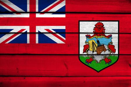 bermuda: Bermuda Flag on wood background Stock Photo