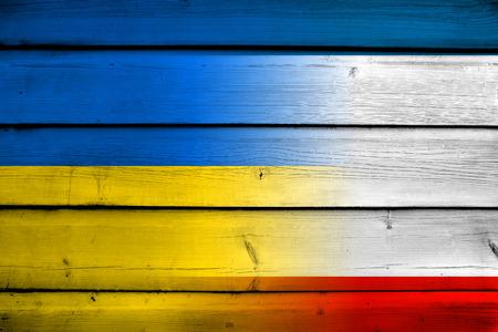 crimea: Autonomous Republic of Crimea and Ukraine Flag on wood background