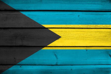 bahamas: Bahamas Flag on wood background Stock Photo