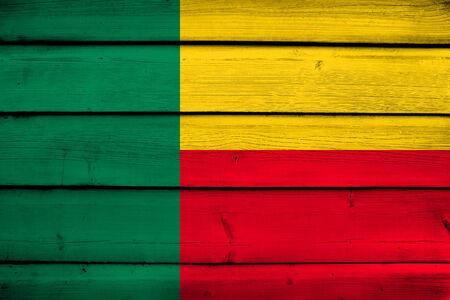 commonwealth: Benin Flag on wood background Stock Photo