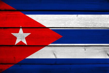 cuba flag: Cuba Flag on wood background