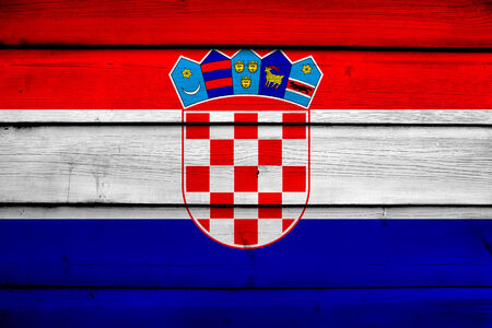 bandiera croazia: Croazia bandiera sullo sfondo di legno