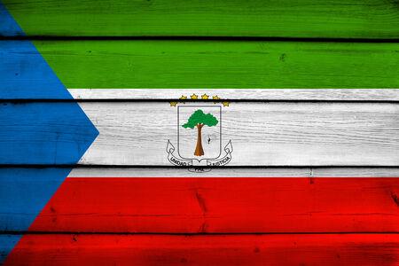equatorial: Equatorial Guinea Flag on wood background Stock Photo