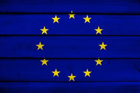 europe closeup: European Union Flag on wood background Stock Photo
