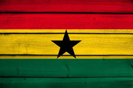 commonwealth: Ghana Flag on wood background