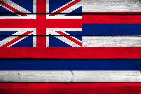 hawaii flag: Hawaii Flag on wood background