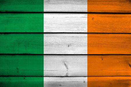 Ireland Flag on wood background photo