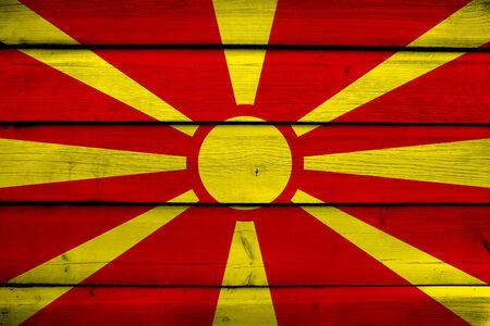 europe closeup: Macedonia Flag on wood background Stock Photo