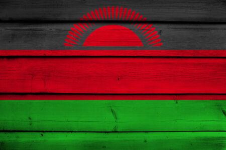 malawi flag: Malawi Flag on wood background